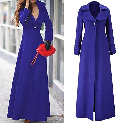 Orangeskycn Womens Lapel Wool Blend Slim Ankle-Length Coat Trench Winter Fall Warm Coat Overcoat -