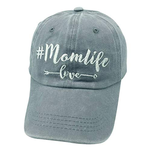 Waldeal Embroidered Mom Life Love Vintage Jeans Adjustable Baseball Cap Washed Denim Dad Hats Mom/Grandma Gift Grey