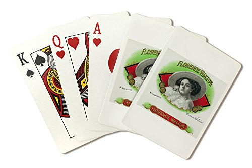- Florence Walton Brand Cigar Box Label (Playing Card Deck - 52 Card Poker Size with Jokers)