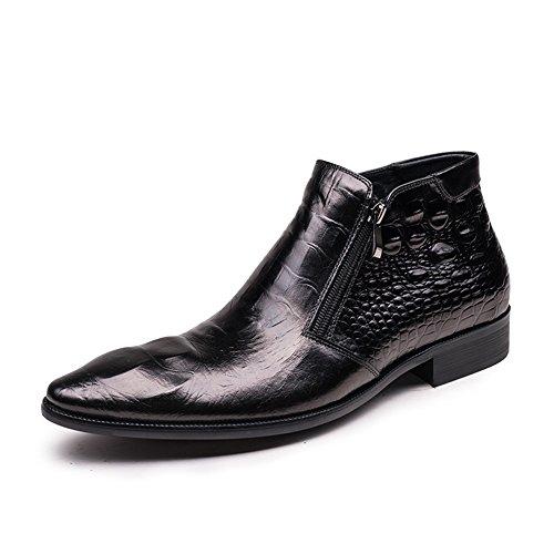 Santimon Menns Ekte Krokodilleskinn Glidelås Ankel Boots Black