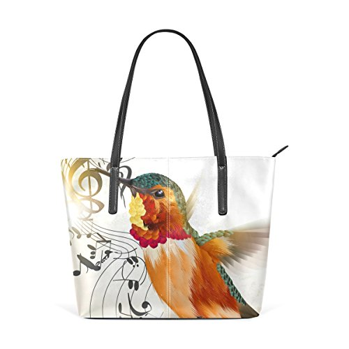 And Notes Humming TIZORAX Top Handle Totes Handbag Bags Shoulder Bird PU Purses Music Leather Women's Fashion pxfREqIwR