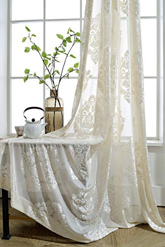 r Curtain Set Flocked Sheer Tulle Rod Pocket Window Panels Sliding Glass Door Drape Modern Solid Beige Voile Half-Shading Floral Fabric W52 x L96 inch 1 Pair (2 Panels) ZZCZZC ()