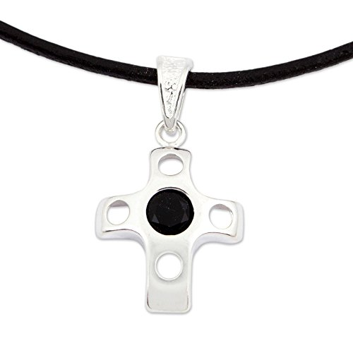 NOVICA Onyx .925 Sterling Silver Leather Pendant Necklace, 20