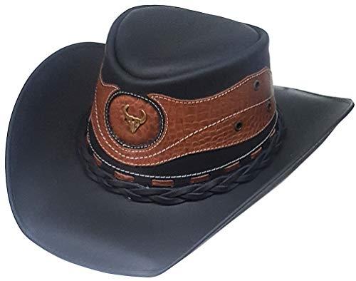 Modestone Unisex Leather Cowboy Hat Crocodile Skin Pattern Applique Black ()