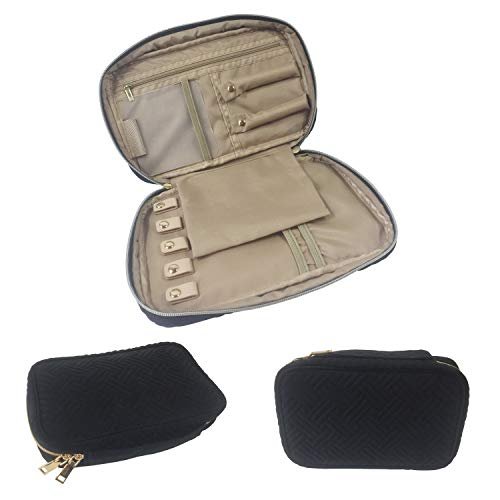 Gold Fortune Travel Jewelry Storage Cases Carrying Organizer Bag for Women Necklace Earrings Rings Bracelet Brooches (Black)