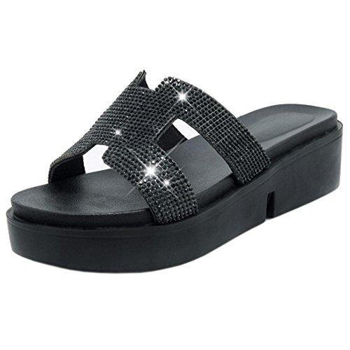 Taoffen Femmes Semelles Épaisses Mules Sandales Chaussures Dété Noir