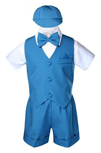 Unotux Teal Infant Boys Toddler Eton 5pc Formal Vest Shorts Set Suits Hat S-4T ()