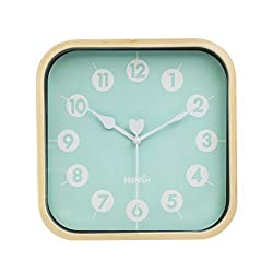 Hippih Silent Wall Clock Wood 9 inch Non Ticking Digital Quiet Sweep Decorative Vintage Wooden Clocks C