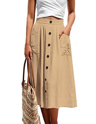 Naggoo Womens Summer A-Line High Waisted Button Pleated Midi Skirt(L,Khaki)