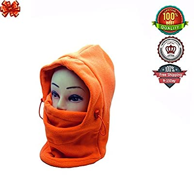 Ezyoutdoor Winter Thermal FLEECE Swat Ski Neck Hoods Full Face Mask Cover Hat Cap for Riding Cycling Hunting Fishing Walking Outdoor Sports with gift Card Knife (orange)