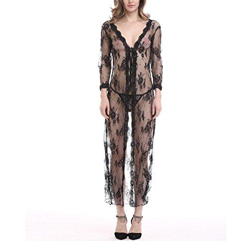 YRYMQU Lencería Divertida ropa interior Lace perspectiva Tentación Cardigan longuette con tanga
