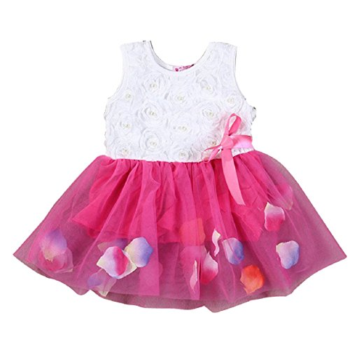 ABC®Children Baby Kid Girl Princess Party Tutu Lace Bow Rose Flower Dress (90, Hot Pink)