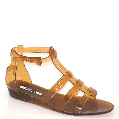 90edfc0ba31 Lady Semi-transparent Strap Ankle Strap Flat Sandal 81424 (6