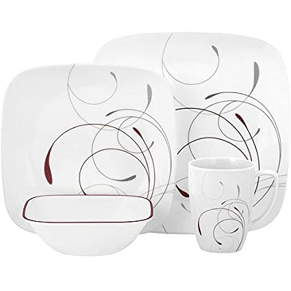 32-piece square dinnerware set tempered glass with chip and break resistance  sc 1 st  Amazon.com & Amazon.com | 32-piece square dinnerware set tempered glass with chip ...