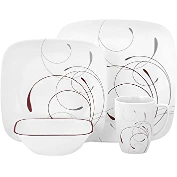 32-piece square dinnerware set tempered glass with chip and break resistance  sc 1 st  Amazon.com & Amazon.com | 32-piece square dinnerware set tempered glass with ...