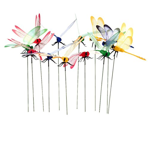 Datingday 12 Pack 3D Garden Dragonfly Stakes with Sticks Dragonfly Planter Miniature Fairy Garden Decoration,Big (Whirligig Dragonfly)
