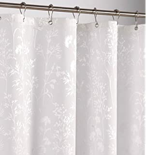 Ufriday Water Repellent Shower Curtain Polyester Mildew Resistant White  Leaves Fabric With Rust Proof