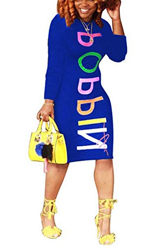 Women Casual Colorful Letter Print Long Sleeves Color Block Midi Bodycon Shirt Dress Blue