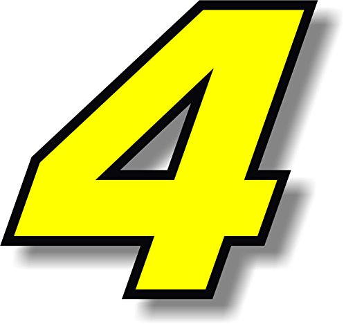 Vinyl sticker/decal Yellow, square font, race number 4 (Height: 6 inches)