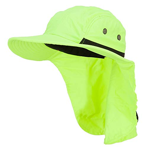 Mesh Sun Protection Flap Hat - Neon Yellow OSFM