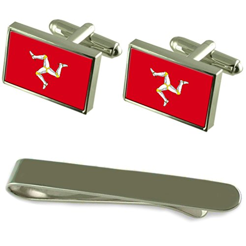 Isle of Man Flag Silver Cufflinks Tie Clip Engraved Gift Set by Select Gifts
