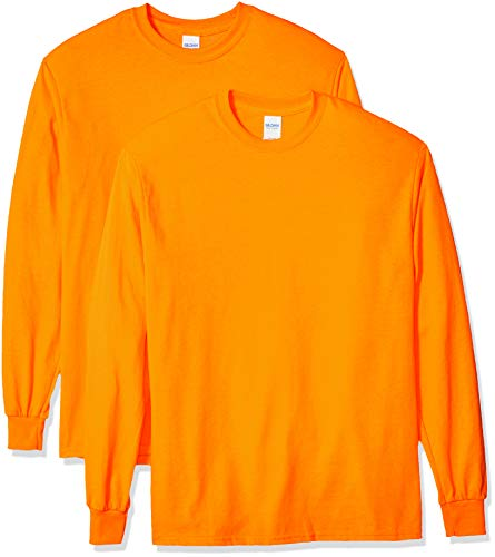 Gildan Men's Ultra Cotton Adult Long Sleeve T-Shirt, 2-Pack Shirt, -Safety Orange, Medium