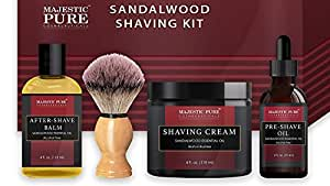 Shaving Kit for Men with Sandalwood by Majestic Pure - Set Includes Pre Shave Oil, Shaving Cream, Badger Shaving Brush, and After Shave Balm (4 Pieces), Perfect Gift Set