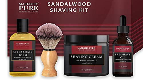 Shaving Kit for Men with Sandalwood by Majestic Pure - Set Includes Pre Shave Oil, Shaving Cream, Badger Shaving Brush, and After Shave Balm (4 Pieces), Perfect Gift Set (Harrys Mens Post Shave Balm 3-4 Oz)