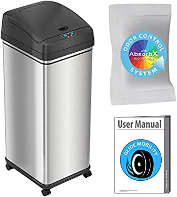 Amazon Com Itouchless Glide Sensor Trash Can Odor Control System Automatic Kitchen And Office Garbage Bin Powered By Battery Or Optional Ac Adapter 13 Gallon Stainless Steel With Caster Wheels Home Kitchen