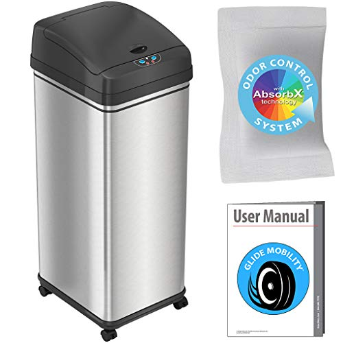 iTouchless Glide Sensor Trash Can Odor Control System, Automatic Kitchen and Office Garbage Bin (Powered by Battery or Optional AC Adapter), 13 Gallon, Stainless Steel With Caster Wheels