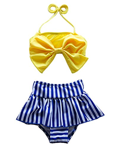 Cute Baby Bikini Big Bowknot Stripe Yellow 2 Pieces Skirt Swimwear Sets (4T,Yellow)