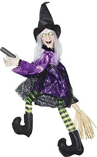 Animated Flying Witch on Broom Decoration (Animated Witches Broom compare prices)