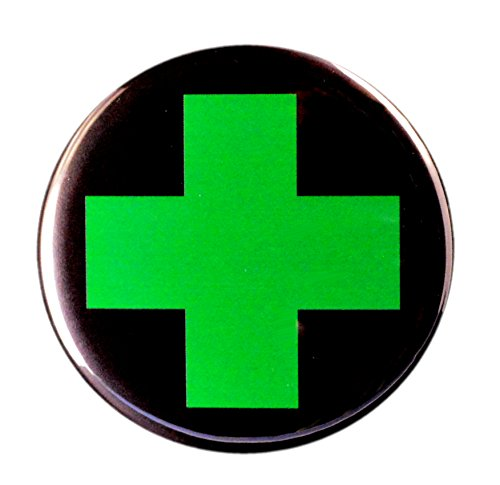 Cannabis Marijuana Green Cross on Pinback Button