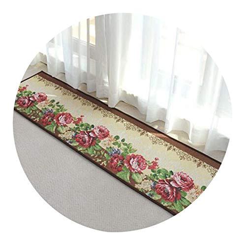 Floral Kitchen Carpet Floor Mat Polyester Fiber Non Slip Area Rugs Jacquard Rose Peony Hallway Front Door Mat Entrance Doormat,Rose,45Cm X 65Cm (Area Rafael Rug)