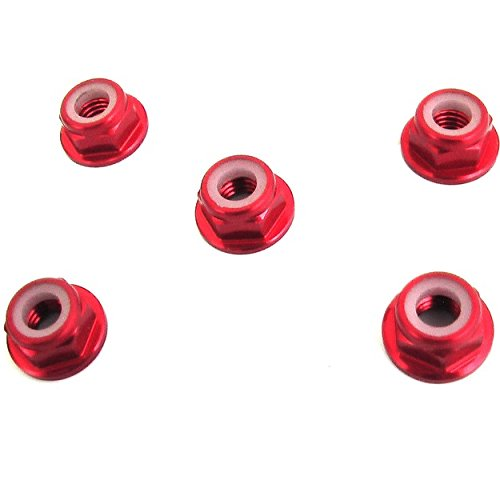 X Spede LNF502 5mm Red Flanged Lock Nut (5)