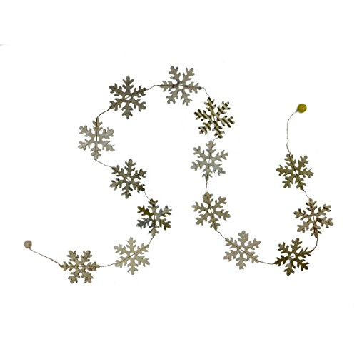 Fair Trade Eco Friendly Paper Snowflake Garland, Handcrafted in Nepal (Silver and Gold) (Snowflake Felt Garland)