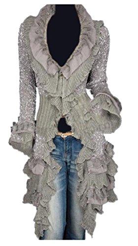 ONTBYB Women Sweet Ruffle Sweater Cardigan Long Cute Long Knitted Cardigans OS White Grey OS