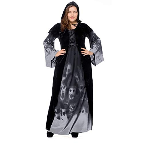 Halloween 2018 Skeleton Print Witch's Long-Form Vampire Plus-Size Queen Costume (Small)
