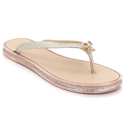 Womens Ladies Toe Post Sparkly Evening Casual Flat Diamante Soft Summer Lightweight Slipper Sandals Shoes Size Pink NLM4bIe
