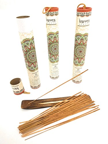 Premium Incense Sticks, Lavender, Sandalwood, Jasmine, Patchouli, Rose, Vanilla, Variety Gift Pack 90 Stciks Includes a Holder in Each Box … (Vanilla 3 Pack)