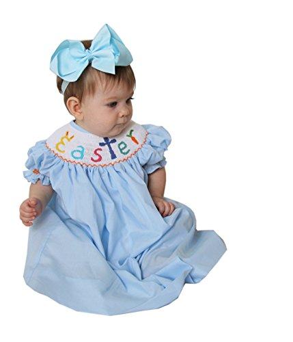 (Hand Smocked Girls Easter Bunny Cross Blue Bishop Dress)