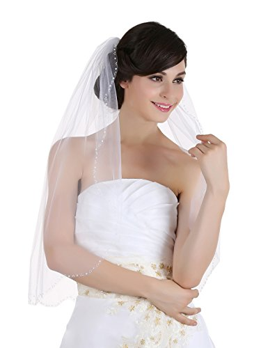 (1T 1 Tier Beaded Scallop Bridal Wedding Veil - Ivory Elbow Length 30