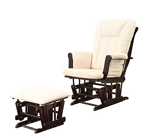 ACME Paola Biege Microfiber Glider Chair & Ottoman 2 Piece