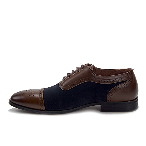 Jaime Aldo Mens Perforated Brogue Cap Toe Two-Tone Lace Up Dress Oxfords Shoes Navy 0NMoODqYtn