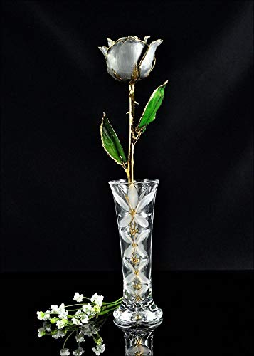 ROSE001 Gold Trimmed Faux Moonstone Crystal Vase, Custom Boxed, Gold Rose | Rose (Gold Trimmed Vase)