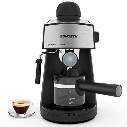 Lowest Price! Espresso Machine 3.5 Bar 4 Cup Espresso Maker Cappuccino Machine with Steam Milk Froth...