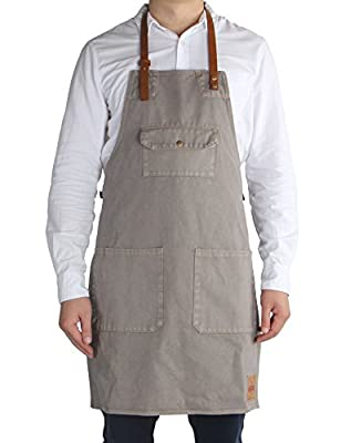 Vantoo Canvas Bib Apron with 3 pockets- Artist Painting Home Shop Kitchen Cooking Commercial Restaurant Apron-Removal Leather Neck Strap and Waist Strap- For Women and Men-Perfect for Gifts from VANTOO
