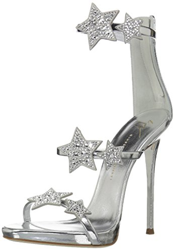 Giuseppe Zanotti Women's E800039 Heeled Sandal, Silver, 8 B US