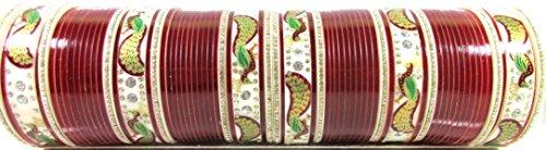 Sparkle World Ethnic Indian Traditional Bridal Peacock Wedding Suhag Chura 68 Pcs Bangles Set 2.8