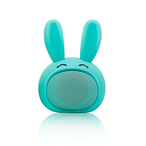 Mini Bluetooth Speaker Wireless Portable Cute Bunny with Squishy Ears (Aqua Blue)